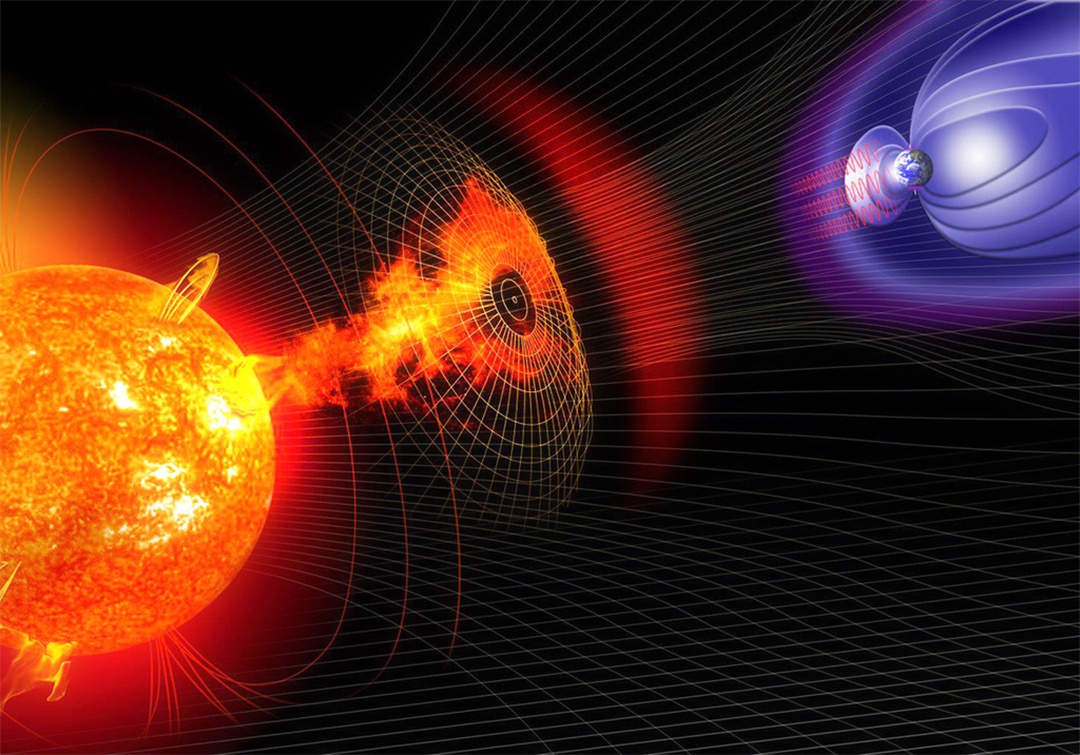 electromagneticpulse from the sun towards the earth